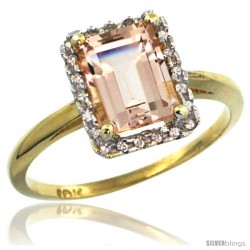 10k Yellow Gold Diamond Morganite Ring 1.6 ct Emerald Shape 8x6 mm, 1/2 in wide