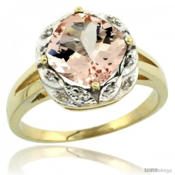10k Yellow Gold Diamond Halo Morganite Ring 2.7 ct Checkerboard Cut Cushion Shape 8 mm, 1/2 in wide