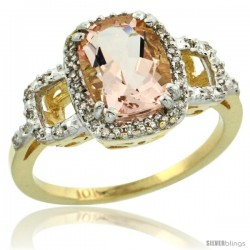 10k Yellow Gold Diamond Morganite Ring 2 ct Checkerboard Cut Cushion Shape 9x7 mm, 1/2 in wide