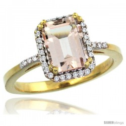 10k Yellow Gold Diamond Morganite Ring 1.6 ct Emerald Shape 8x6 mm, 1/2 in wide -Style Cy913129