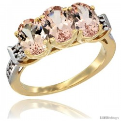 10K Yellow Gold Natural Morganite Ring 3-Stone Oval 7x5 mm Diamond Accent