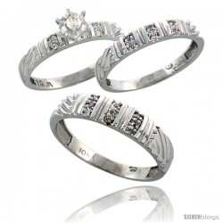 Sterling Silver 3-Piece Trio His (5mm) & Hers (3.5mm) Diamond Wedding Band Set, w/ 0.14 Carat Brilliant Cut Diamonds