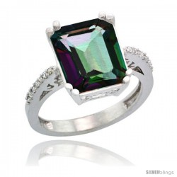 Sterling Silver Diamond Mystic Topaz Ring 5.83 ct Emerald Shape 12x10 Stone 1/2 in wide