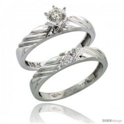 Sterling Silver 2-Piece Diamond Engagement Ring Set, w/ 0.08 Carat Brilliant Cut Diamonds, 1/8 in. (3.5mm) wide