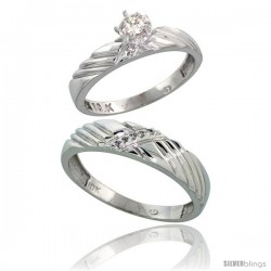 Sterling Silver 2-Piece Diamond Ring Set ( Engagement Ring & Man's Wedding Band ), w/ 0.09 Carat Brilli -Style Ag118em