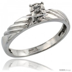 Sterling Silver Diamond Engagement Ring, w/ 0.06 Carat Brilliant Cut Diamonds, 1/8in. (3.5mm) wide -Style Ag118er