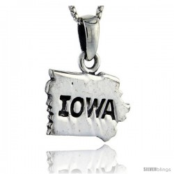 Sterling Silver Iowa State Map Pendant, 3/4 in tall