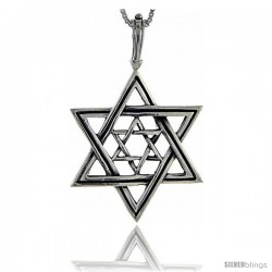 Sterling Silver Star of David Pendant, 2 1/8 in tall