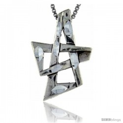 Sterling Silver Star of David Pendant, 1 1/8 in tall