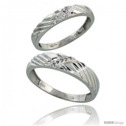 Sterling Silver 2-Piece His (5mm) & Hers (3.5mm) Diamond Wedding Band Set, w/ 0.05 Carat Brilliant Cut Diamonds