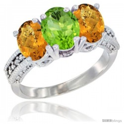 14K White Gold Natural Peridot Ring with Whisky Quartz 3-Stone 7x5 mm Oval Diamond Accent