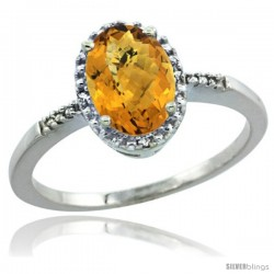 14k White Gold Diamond Whisky Quartz Ring 1.17 ct Oval Stone 8x6 mm, 3/8 in wide