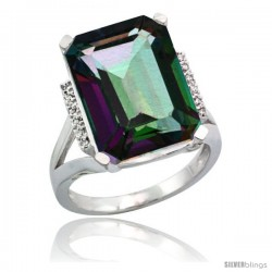 Sterling Silver Diamond Mystic Topaz Ring 12 ct Natural Emerald Cut 16x12 stone 3/4 in wide