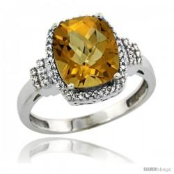 14k White Gold Diamond Halo Whisky Quartz Ring 2.4 ct Cushion Cut 9x7 mm, 1/2 in wide