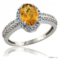 14k White Gold Diamond Halo Whisky Quartz Ring 1.2 ct Oval Stone 8x6 mm, 3/8 in wide