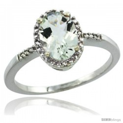 Sterling Silver Diamond Natural Green Amethyst Ring Ring 1.17 ct Oval Stone 8x6 mm, 3/8 in wide