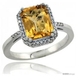 14k White Gold Diamond Whisky Quartz Ring 2.53 ct Emerald Shape 9x7 mm, 1/2 in wide