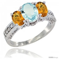 14k White Gold Ladies Oval Natural Aquamarine 3-Stone Ring with Whisky Quartz Sides Diamond Accent