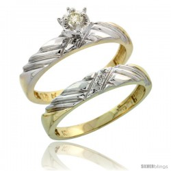 10k Yellow Gold Ladies' 2-Piece Diamond Engagement Wedding Ring Set, 1/8 in wide -Style Ljy118e2