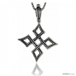 Sterling Silver Quaternary Celtic Knot Cross Pendant, 1 1/2 in tall
