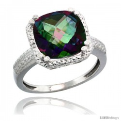 Sterling Silver Diamond Mystic Topaz Ring 5.94 ct Checkerboard Cushion 11 mm Stone 1/2 in wide