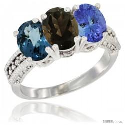 10K White Gold Natural London Blue Topaz, Smoky Topaz & Tanzanite Ring 3-Stone Oval 7x5 mm Diamond Accent