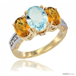 14K Yellow Gold Ladies 3-Stone Oval Natural Aquamarine Ring with Whisky Quartz Sides Diamond Accent