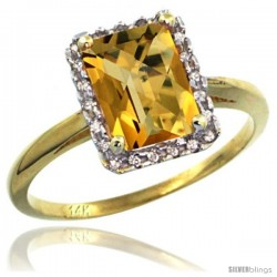 14k Yellow Gold Diamond Whisky Quartz Ring 1.6 ct Emerald Shape 8x6 mm, 1/2 in wide