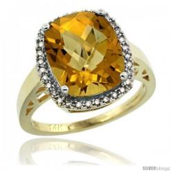 14k Yellow Gold Diamond Whisky Quartz Ring 5.17 ct Checkerboard Cut Cushion 12x10 mm, 1/2 in wide