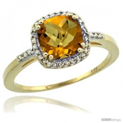 14k Yellow Gold Diamond Whisky Quartz Ring 1.5 ct Checkerboard Cut Cushion Shape 7 mm, 3/8 in wide