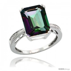 Sterling Silver Diamond Mystic Topaz Ring 5.83 ct Emerald Shape 12x10 Stone 1/2 in wide -Style Cwg08149