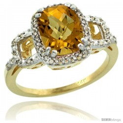 14k Yellow Gold Diamond Whisky Quartz Ring 2 ct Checkerboard Cut Cushion Shape 9x7 mm, 1/2 in wide