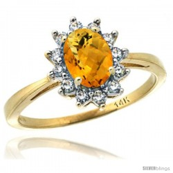 14k Yellow Gold Diamond Halo Amethyst Ring 0.85 ct Oval Stone 7x5 mm, 1/2 in wide -Style Cy426130