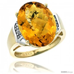 14k Yellow Gold Diamond Whisky Quartz Ring 9.7 ct Large Oval Stone 16x12 mm, 5/8 in wide