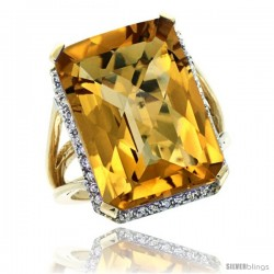 14k Yellow Gold Diamond Whisky Quartz Ring 14.96 ct Emerald shape 18x13 mm Stone, 13/16 in wide