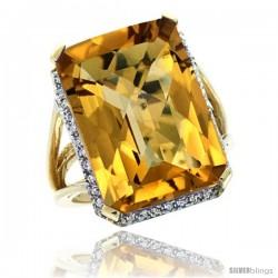 14k Yellow Gold Diamond Whisky Quartz Ring 14.96 ct Emerald shape 18x13 mm Stone, 13/16 in wide