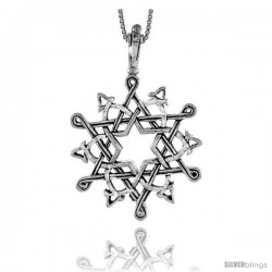 Sterling Silver Celtic Star of David Pendant, 2 1/8 in tall