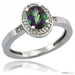 Sterling Silver Diamond Mystic Topaz Ring 1 ct 7x5 Stone 1/2 in wide