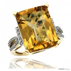 14k Yellow Gold Diamond Whisky Quartz Ring 12 ct Emerald Shape 16x12 Stone 3/4 in wide