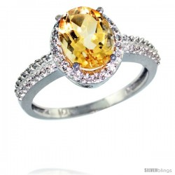10k White Gold Diamond Citrine Ring Oval Stone 9x7 mm 1.76 ct 1/2 in wide
