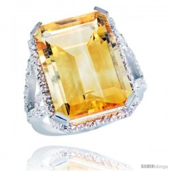 10k White Gold Diamond Citrine Ring 14.96 ct Emerald shape 18x13 Stone 13/16 in wide