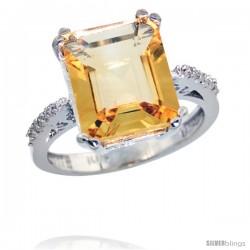 10k White Gold Diamond Citrine Ring 5.83 ct Emerald Shape 12x10 Stone 1/2 in wide