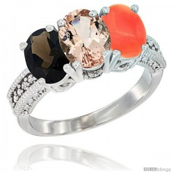 14K White Gold Natural Smoky Topaz, Morganite & Coral Ring 3-Stone 7x5 mm Oval Diamond Accent