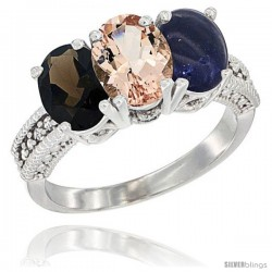 14K White Gold Natural Smoky Topaz, Morganite & Lapis Ring 3-Stone 7x5 mm Oval Diamond Accent