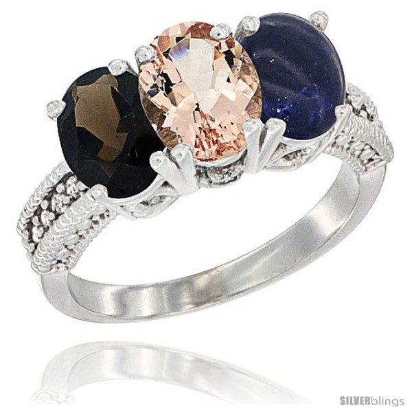 https://www.silverblings.com/62399-thickbox_default/14k-white-gold-natural-smoky-topaz-morganite-lapis-ring-3-stone-7x5-mm-oval-diamond-accent.jpg
