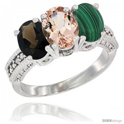 14K White Gold Natural Smoky Topaz, Morganite & Malachite Ring 3-Stone 7x5 mm Oval Diamond Accent
