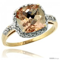 10k Yellow Gold Diamond Morganite Ring 2.08 ct Cushion cut 8 mm Stone 1/2 in wide