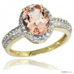 10k Yellow Gold Diamond Morganite Ring Oval Stone 9x7 mm 1.76 ct 1/2 in wide