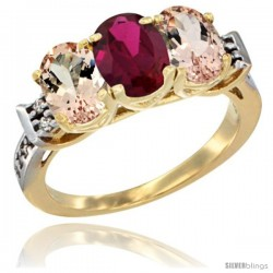 10K Yellow Gold Natural Ruby & Morganite Sides Ring 3-Stone Oval 7x5 mm Diamond Accent