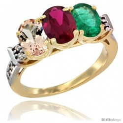10K Yellow Gold Natural Morganite, Ruby & Emerald Ring 3-Stone Oval 7x5 mm Diamond Accent